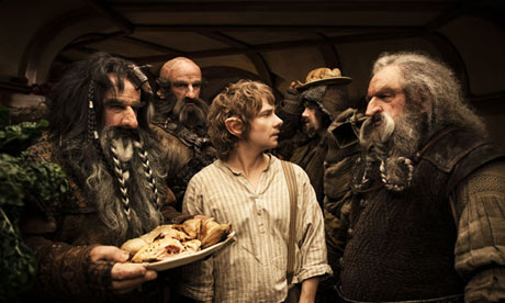 Martin Freeman (center) as Bilbo