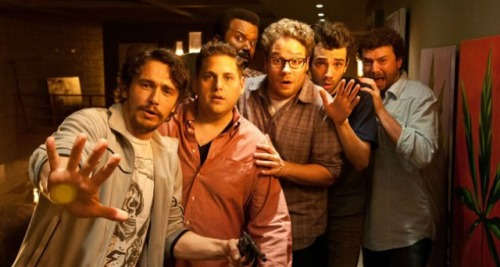 Seth Rogen (center) and friends...avoiding the Apocalypse