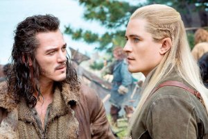 Luke Evans and Orland Bloom as Bard and Legolas