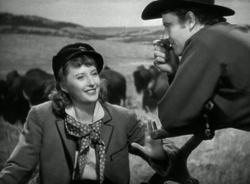 "Barbara Stanwyk and Joel McRae in ""Union Pacific"""
