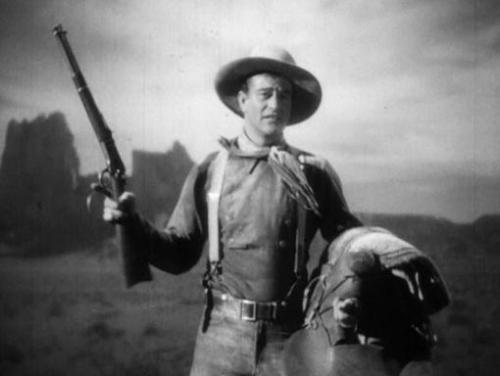 "John Wayne makes one of the movies' great entrances in ""Stagecoach."""