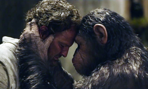 Jason Clarke and (beneath the CGI) Andy Serkis