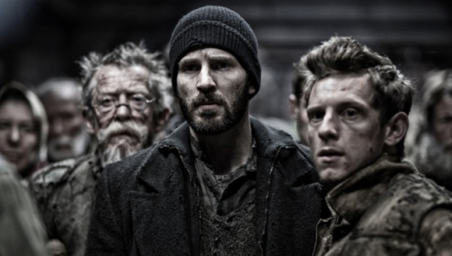 "John Hurt, Chris Evans and Jamie Bell in ""Snowpiercer"""
