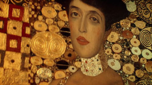 "Detail of Klimt's ""Woman in Gold"""
