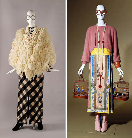Two Apfel outfits from her Metropolitan Museum of Art show