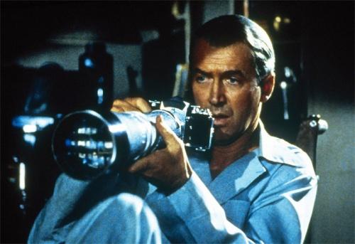 """James Stewart in Hitchcock's """"Rear Window"""""""