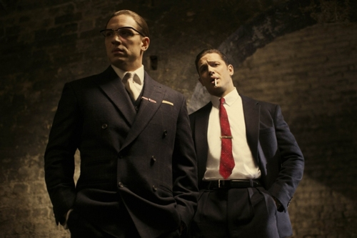 Tom Hardy as Reggie and Ronnie Kray