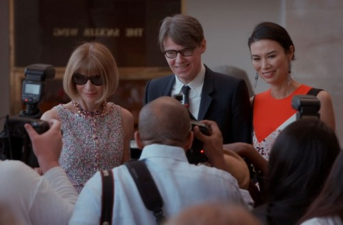 Anna Wintour (left) and Met costume curator Andrew Bolton (center)