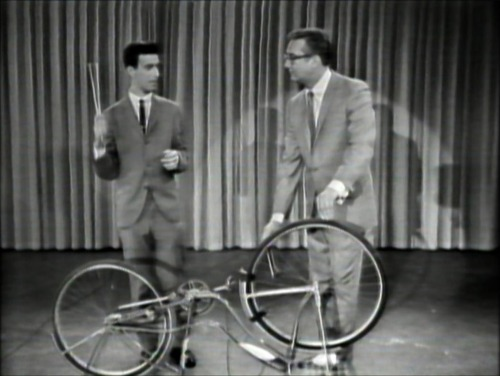 A young Frank Zappa prepares to perform a concerto for bicycle on the Steve Allen show